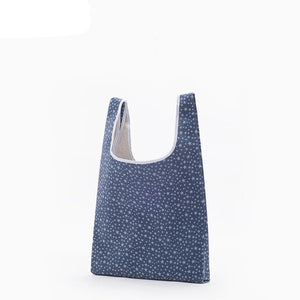 Blue Stripes Star And Dots Reusable Eco Tote Bags with Shoulder Beach Tote Purse Canvas Handbags Totes Bags - Cozzoo