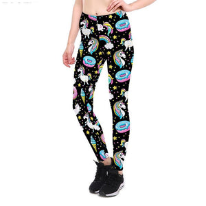 Rainbow Unicorn Donut Leggings - Women's Leggings - All Over Print - Cozzoo