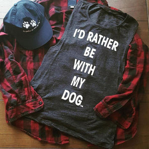 I'd Rather Be With My Dog - Women's Casual Dark Gray Tank Top - Cozzoo