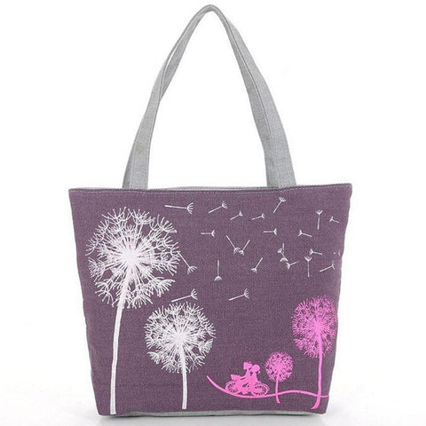 Dandelion Flowers Handbag/Shoulder Shoulder Beach Tote Purse Canvas Handbags Totes Bags - Cozzoo