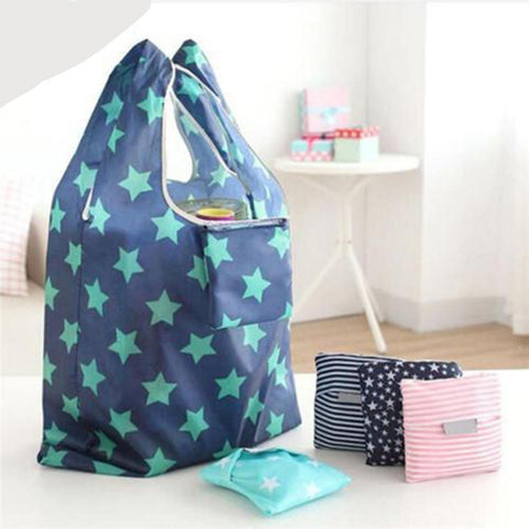 Pattern Star, Stripe And Polka Dots Reusable Eco Tote Bags with Shoulder Beach Tote Purse Canvas Handbags Totes Bags - Cozzoo