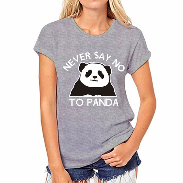 Never Say No to Panda T-Shirt - Women's Crew neck T-Shirt - Cozzoo