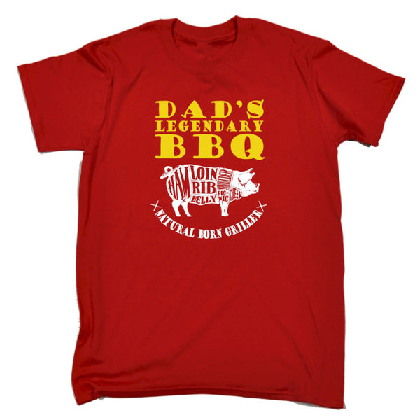 Dad's Legendary BBQ Natural Born Griller -Dad BBQ Tee - Cozzoo