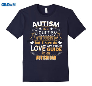 Autism Is A Journey I Am An Autism Dad T-Shirts - Men's Crew Neck Top Tees - Cozzoo