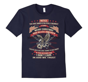 Politically Incorrect Merry Christmas God Bless America Solute Our Troops Offends You Don't Care - Cozzoo