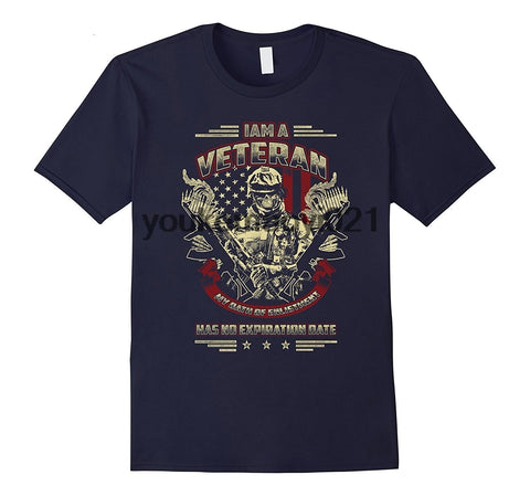 I Am Veteran My Oath Of Enlistment Has No Expiration Date T-Shirts - Men's Crew Neck Novelty Tee - Cozzoo