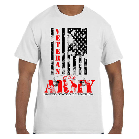 Veteran Of The Army American Flag T-Shirts - Men's Crew Neck Novelty Top Tee - Cozzoo