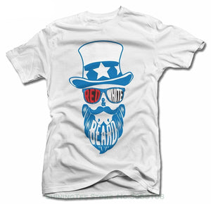 Red White And Beard T-Shirts - Men's Crew Neck Top Tees - Cozzoo