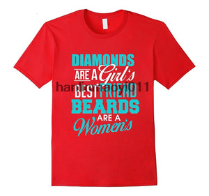 Diamonds Are A Girls Best Friend Beard Are A Women's T-Shirts - Men's Crew Neck Top Tees - Cozzoo