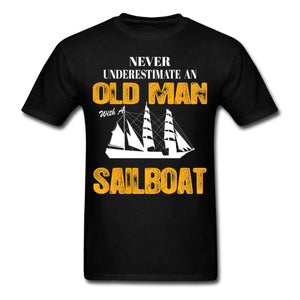 Never Underestimate An Old Man With A Sailboat - Grandpa T-Shirt - Cozzoo