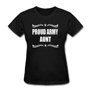 Proud Army Aunt T-Shirts - Ladies Crew Neck Novelty Top Tee - Cozzoo