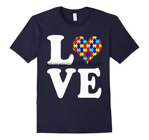 Autism LOVE T-shirt - Autism Awareness Puzzle Heart. Tee - Cozzoo