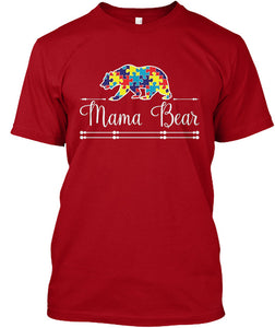 Autism Mom Mama Bear Autistic Child Son - Mother T-Shirt - Cozzoo