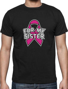 For My Sister - Breast Cancer Awareness - Pink Ribbon - Men's Tee - Cozzoo