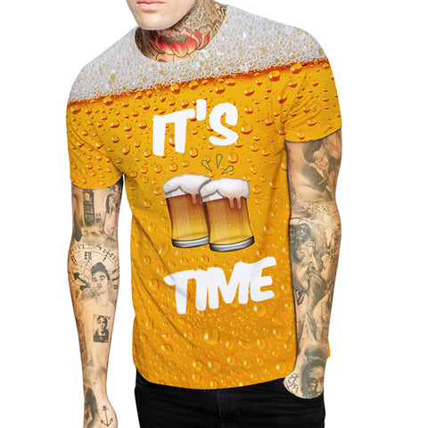 It's Beer Time All Over Print T-shirt - Drinking Tee - Cozzoo