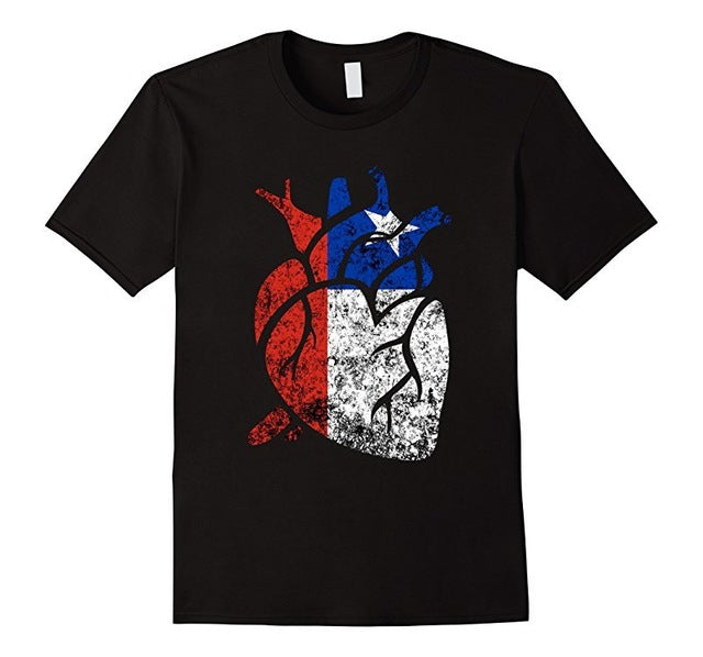 Chile Flag Heart Chilean Roots Love Chile T-Shirt - Cozzoo