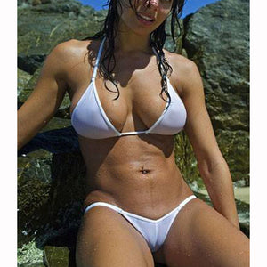 See Through Micro Bikini Brazilian Swimwear Swimsuit Bathing Suit Swimsuit Transparent - Cozzoo