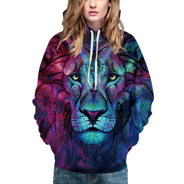 Lion Face African Style Design All Over Print Hoodie Sweater - Cozzoo