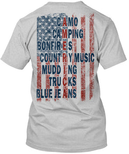 American Flag - Camo Camping Bonfires Country Music Mudding Trucks Blue Jeans - Unisex T-shirt - Cozzoo