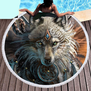 Wolf Warrior Indian Blanket Round Beach Towels - Cozzoo