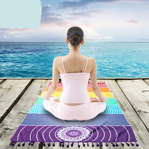 Chakra Rainbow Stripes Tapestry Yoga Mat Beach Towels - Cozzoo