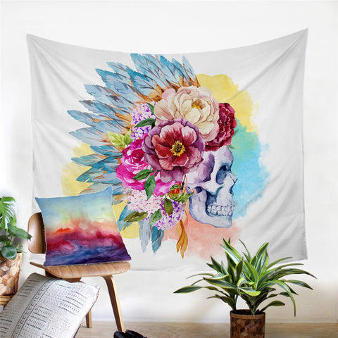 Skull And White Red Pink Purple Flower Tapestry - Cozzoo