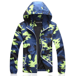 Blue Green Black Camouflage Jacket Hoodies - Cozzoo