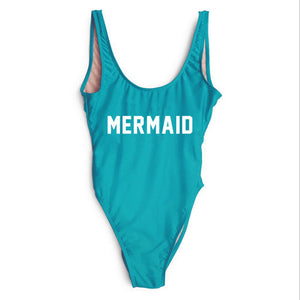Mermaid Text Print - Women's Sexy Sporty One-Piece Swimsuit - Low Back, High-Cut - Cozzoo