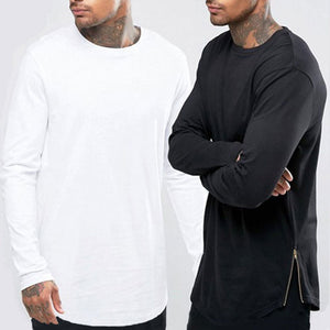 Arc Long Sleeves Men Longline Shirts Extra Long Oversized Tall Tees - Cozzoo
