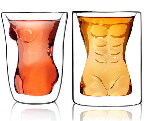 Sexy Lady Men Bodies Double Wall Whiskey Cute Drinking Wine Glasses Champagne Cocktail Glass Goblets - Cozzoo