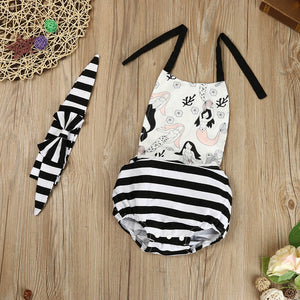 Toddler Baby Girl Print Striped Romper Jumpsuit Headband Clothes Outfit Sunsuit - Cozzoo