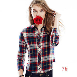 Tartan Women's Plaid Flannel Shirt Blouses Shirts Turn-Down Collar Button Down - Cozzoo