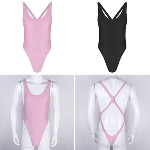 #M-XL Mens One-piece Sissy Lingerie Sleeveless Criss-Cross Backless High Cut Thong Bodysuit Leotard Jumpsuit Underwear Sleepwear - Cozzoo