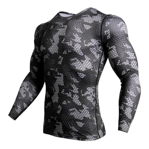 Black Camouflage Workout Fitness Long Sleeve Compression Tights T-Shirts - Cozzoo