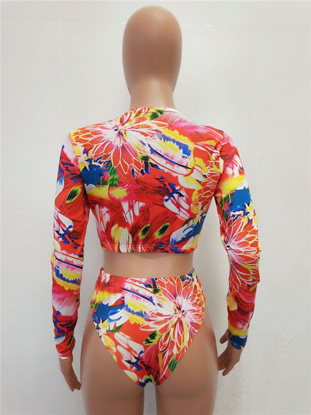 Abstract Patterns Bikini Set - Women's Sexy Sport Two-Piece Swimsuit - Long Sleeves Crop Top - Cozzoo