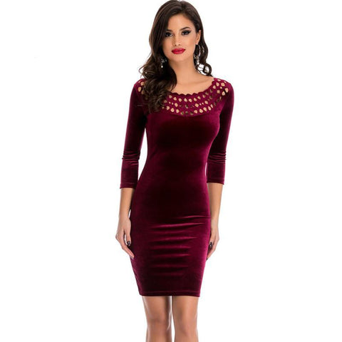 Red, Black, Green, Violet Hollow Out Bodycon Velvet Dress - Cozzoo