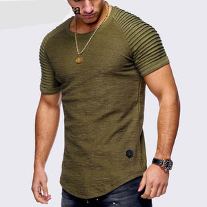 Pleated Shoulders Men Longline Shirts Extra Long Oversized Tall Tees - Cozzoo