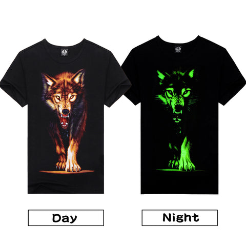 Wolf Green Glow In The Dark T-Shirt - Cozzoo