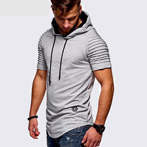Hoodie Short Sleeves Men Longline Shirts Extra Long Oversized Tall Tees - Cozzoo