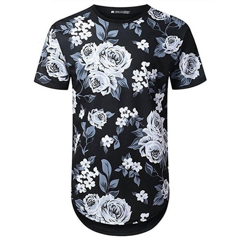 Floral Pattern Men Longline Shirts Extra Long Oversized Tall Tees - Cozzoo