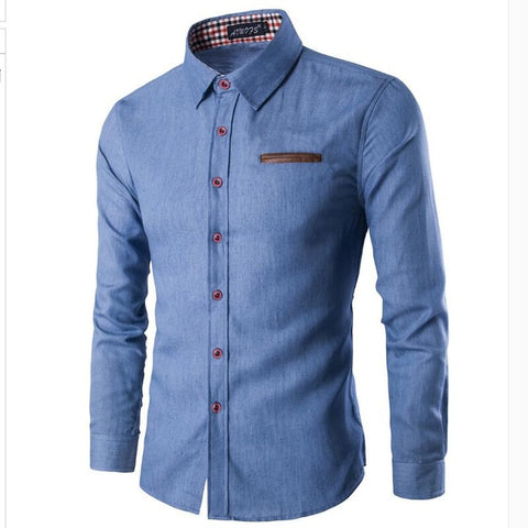 Button Downs Pocket Denim Jeans Men's Long Sleeve Polo Shirts - Cozzoo