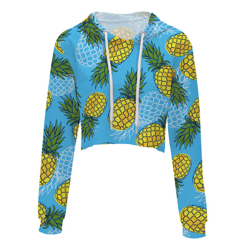 Blue Pineapple Women Long Sleeve Hoodie Crop Top Sweater - Cozzoo