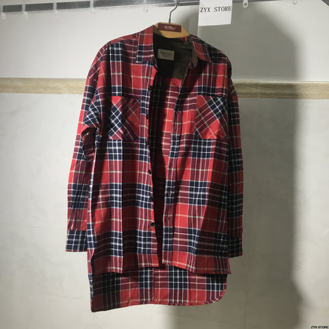 Men Flannel Shirts Tartan Plaid Long Sleeve Button Down Shirt - Cozzoo
