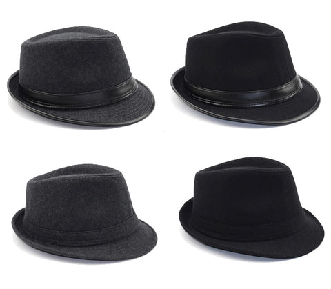 Fedora Trilby Hat - Bowler Cap - England Style Wool Felt - Cozzoo