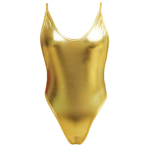 Metallic Golden Women Bodysuit Backless Deep V-Neck Bodysuit - Cozzoo