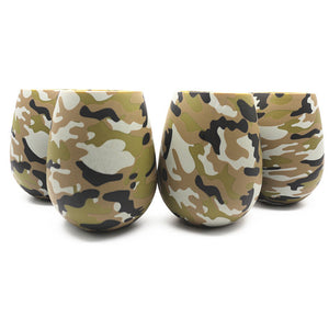 Silicone Camouflage Stemless Cute Drinking Wine Glasses Champagne Cocktail Glass Goblets - Cozzoo