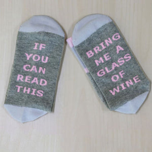 If You Can Read This Bring Me A Glass Of Wine - Drinking - Socks Funny Crazy Cool Novelty Cute Fun Funky Colorful - Cozzoo