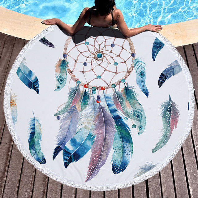 Dream Catcher Tassel Tapestry Round Beach Towels - Cozzoo