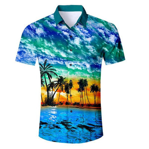 Beach Sunset Scenery All Over Print Button Down Short Sleeves Shirt - Cozzoo