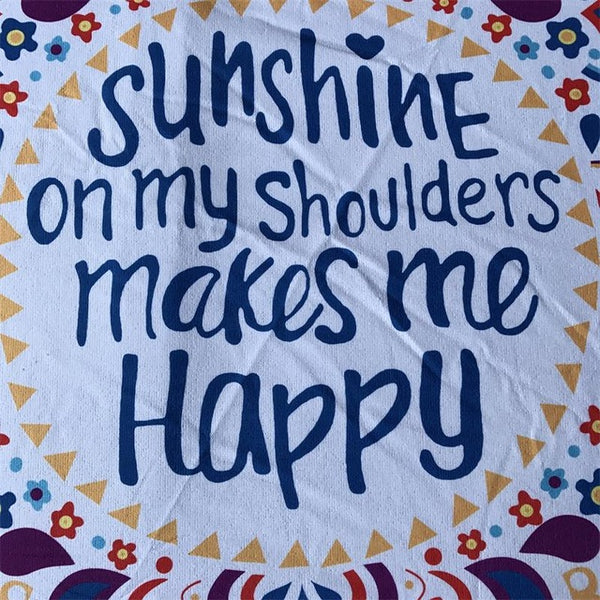 Sunshine On My Shoulders Make Me Happy - Round Beach Towel - Cozzoo